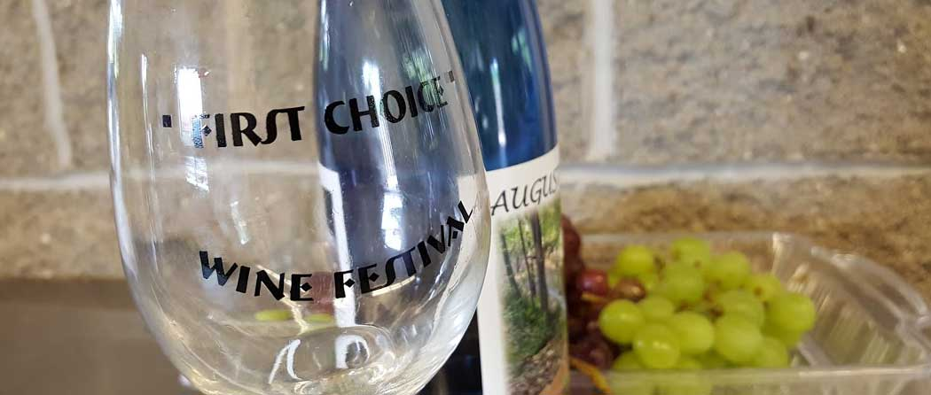 The First Choice Wine Festival branded attendee glass