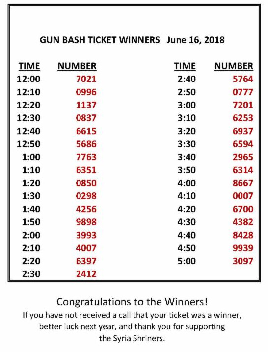 2018 sportsman's bash winning ticket numbers